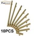 Probrico 10 PCS Stainless Steel Gold Diameter 12mm Hole Center 50mm~256mm Kitchen Cabinet Door Knob Furniture Drawer Handle Pull