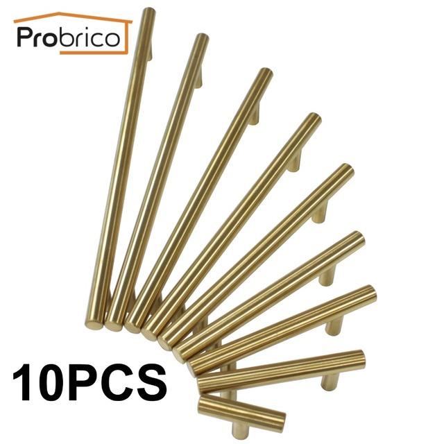 Probrico 10 pcs aço inoxidável ouro diâmetro 12mm centro do furo de 50mm ~ 256mm armário de cozinha maçaneta da porta móveis puxador de gaveta puxar