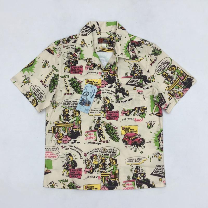 Боб Dong Винтаж 50s Для Мужчин's Гавайские рубашки со смешным принтом надпись Алоха Гавайи летняя футболка Для мужчин Повседневное рубашки для