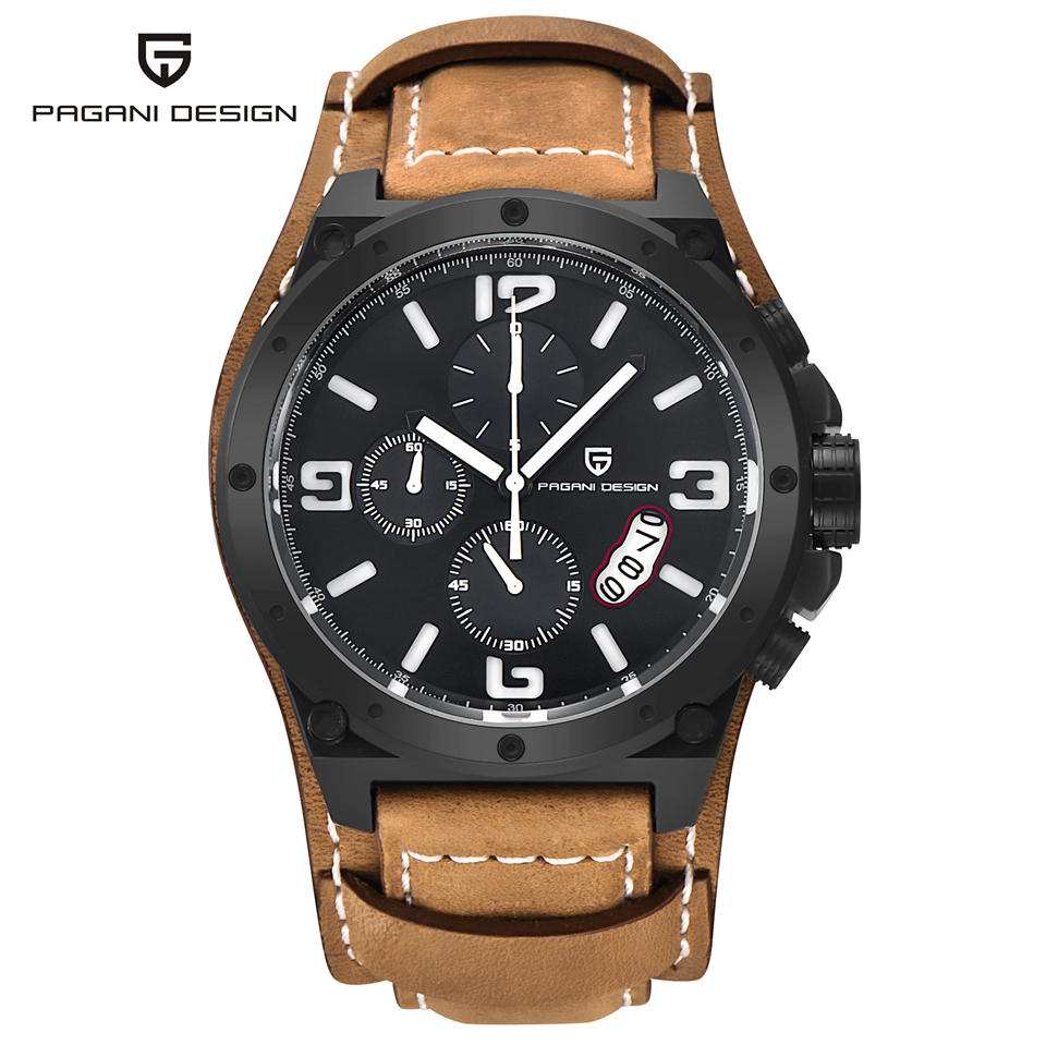 PAGANI DESIGN Military Watch Man Sport Quartz Wristwatch Mens Watches Top Brand Luxury Stopwatch Clock Men Leather Montre Homme megir fashion watch leather band men quartz watches brand waterproof clock luxury sport man wristwatch army style montre homme