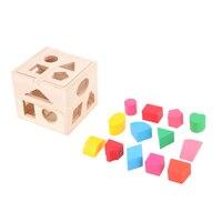 13 فتحات مربع الشكل فارز المخابرات المعرفي و مطابقة اللبنات خشبية الطفل أطفال الأطفال التعليمية لعبة هدية