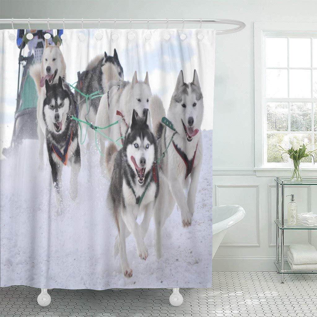 Hand Drawn Sailboat Race Shower Curtain Liner Waterproof Fabric Bathroom Hooks