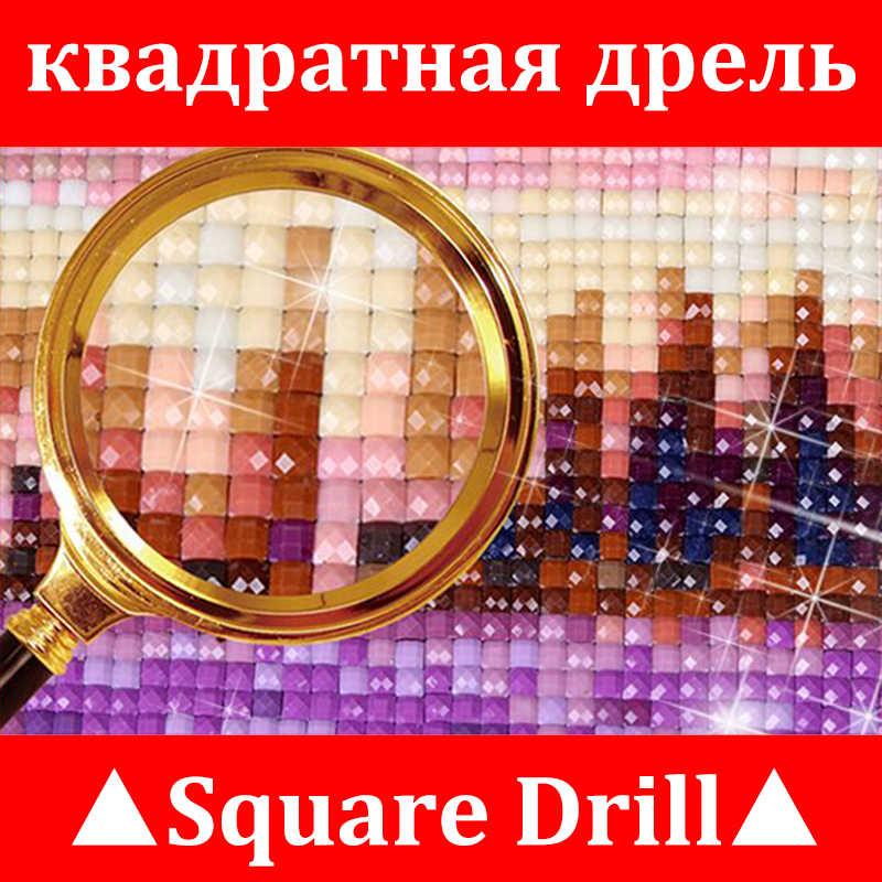 Diamond Lukisan Cross Stitch Musim Dingin Pemandangan Matahari Terbenam Bulat Berlian Imitasi Mosaik Gambar 5D Diamond Bordir Salju Pohon Ikon Xu