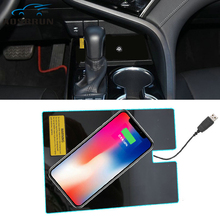 car-styling  Special on board QI Phone wireless charging Pad Panel Car Accessories For Toyota camry 2018 XV70 LE SE XSE XLE