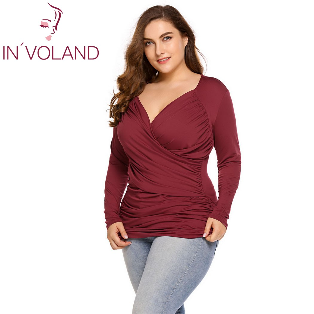 IN'VOLAND Large Size 5XL Women T-Shirt Tops Autumn Spring Vintage Wrap Front Pullovers Long Sleeve Ruched Tshirt Tees Plus Size