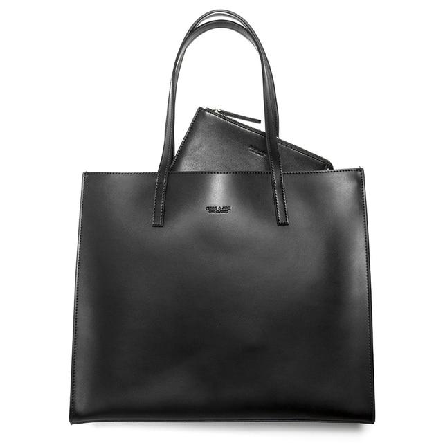 JESSIE&JANE New Arrival Practical Women Composite Bags Simple Split Leather Shoulder Bag with a Pouch Totes Vintage Lady Bag041