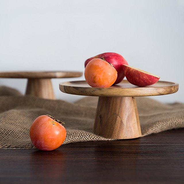 High Wooden Round Serving Tray