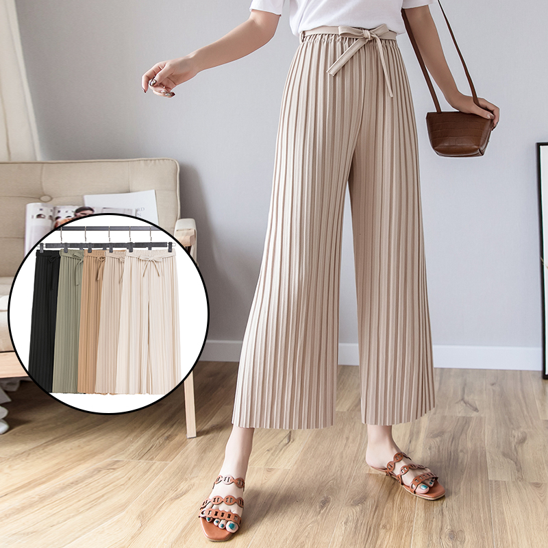 Spring summer 2019 New Women's   Pants   Pleated   wide     leg     Pants   Vintage Loose ninth   pants   Casual High Waist Long Trousers 80i3