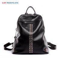 Модные женский рюкзак с заклепками женский рюкзак милые женские рюкзаки для ноутбука для путешествий дизайнерские сумки рюкзаки из натура