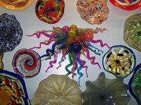 Duvar Üflemeli Cam Çiçek Tabakları Ev Sanat Dekorasyon Murano Cam Asılı Duvar Plakaları ve Cam Spiral Satılık