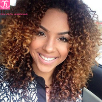 DreamDiana Ombre Brazilian Curly 3 Bundles Two Tone 1B 30 Ombre Kinky Curly Ombre Brazilian Bundles Ombre Curly Hair Bundles