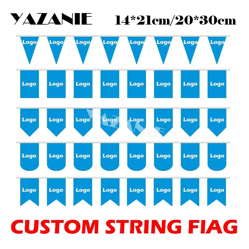 YAZANIE 14*21cm/20*30cm/30*40cm Custom Logo String Flag Custom Hunting Flag for Party Event Advertising Decoration Promotion(China)