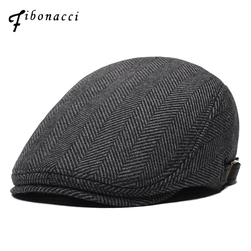 Fibonacci Wool Nylon Men's Newsboy Caps Middle Aged Old Age Cabbie Ivy Striped Beret Dad Hats For Men Flat Caps
