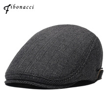 Fibonacci Wool Nylon Mens Newsboy Caps Middle Aged Old Age Cabbie Ivy Striped Beret Dad Hats for Men Flat