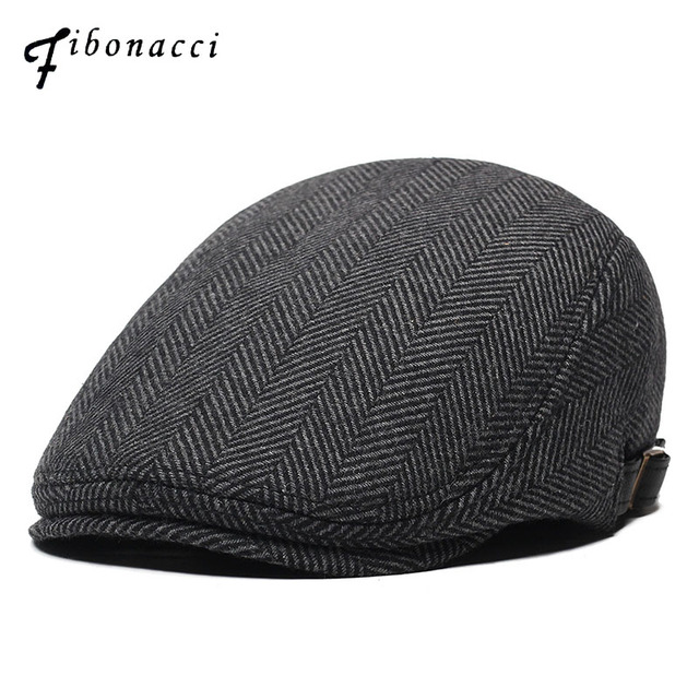 c29d1d2bc19 Fibonacci Wool Nylon Men s Newsboy Caps Middle Aged Old Age Cabbie Ivy  Striped Beret Dad Hats for Men Flat Caps