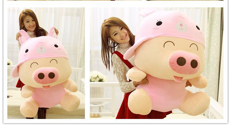 huge 95cm pig plush toy McDull pig turn to pink rabbit design doll hugging pillow birthday gift w0699 the huge lovely hippo toy plush doll cartoon hippo doll gift toy about 160cm pink