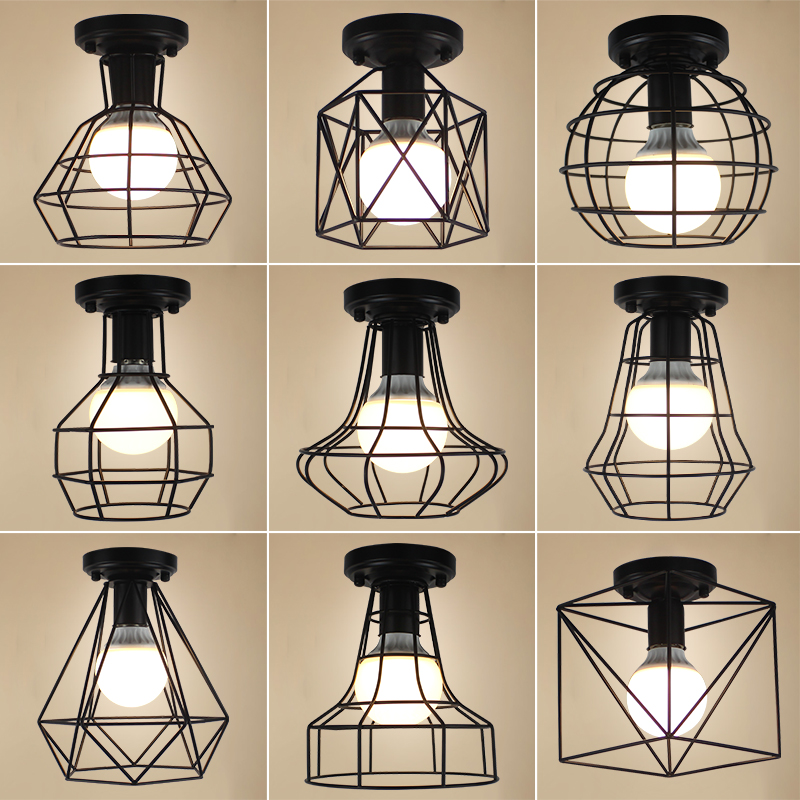Ceiling Lights Vintage LED Ceiling Lamp Lustre Luminaire Lron Cage Lighting Fixtures Luminaria Abajur Plafonnier For Living Room white black ceiling lights led lustre de plafond living bedroom ac90 265v modern luminaire plafonnier ceiling lamp home decors
