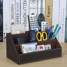 home office wood +PU leather desktop office storage pen holder organizar desk organizer office stationery holder SNH011B