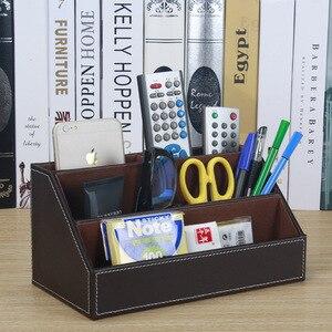 Image 1 - home office wood +PU leather desktop office storage pen holder organizar desk organizer office stationery holder SNH011B