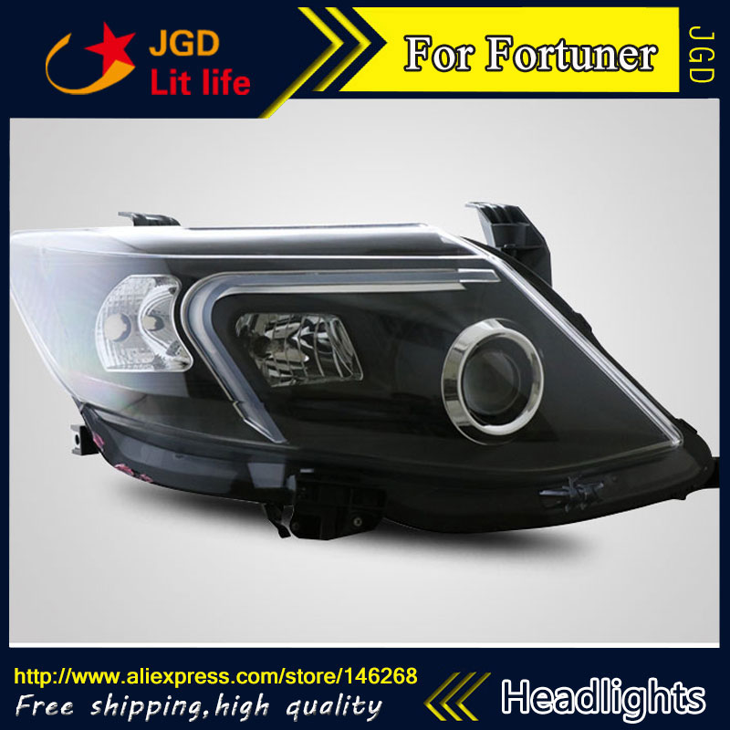 Free shipping ! Car styling LED HID Rio LED headlights Head Lamp case for Toyota Fortuner Bi-Xenon Lens low beam