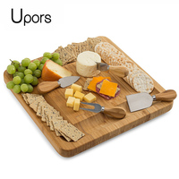 UPORS Natural Bamboo Cheese Board With Cutlery Knife Set Slide Out Drawer Wooden Platter 4 Small Wood Handle Cutting Knives