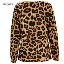 Fashion Womens V Neck Leopard printing Long Sleeve shirts Casual Loose Tops Tunic womens tops and blouses
