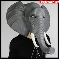 Halloween Props Adult Elephant Masks Animal Full Latex Mask Masquerade Birthday Party Rubber Silicone Face Mask Fancy Dress Toys