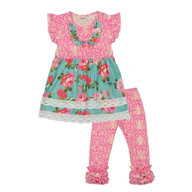 10af09c8cdab7 US $10.67 35% OFF|High Quality New Style Girls Spring Summer Clothes Print  Dress Icing Pants Children Boutique Sets With Bow And Accessries-in ...