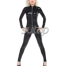 Heavy nature rubber Black latex leotard catsuit tights for adult girls