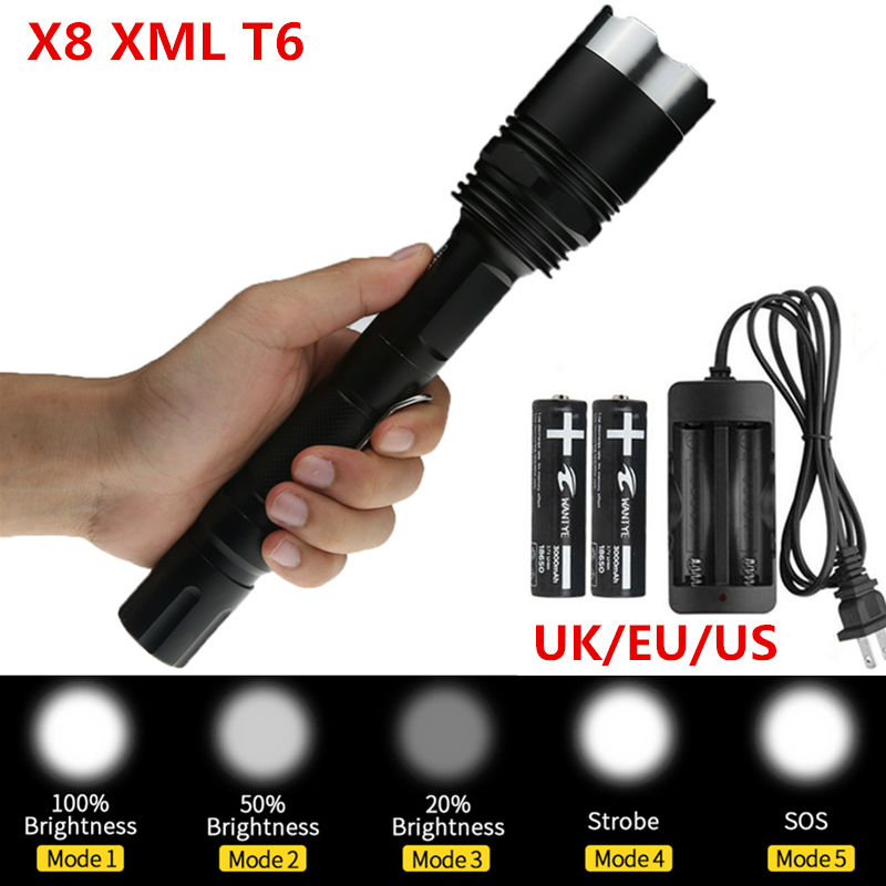 Powerful 3800LM lamp XM-L T6 LED Flashlight Torch 5Mode Outdoor LED Flash light lighting+ 2x18650 Battery +Charger 2017 newest flashlight led cree xm l2 flash light 4 mode torch bike bicycle light outdoor lighting 18650 battery mount holder