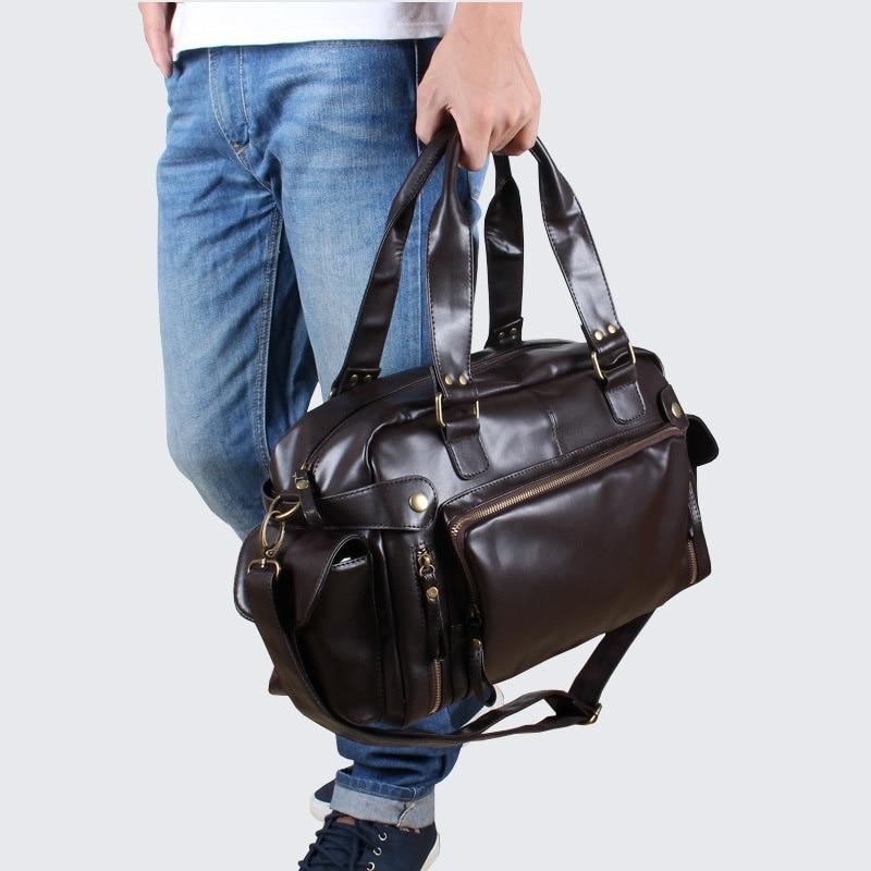 MIWIND Fashion High Quality PU Casual Travel Bag New Duffle Bag Pure Color Travel Tote Large Capacity Men Handbag RHB013
