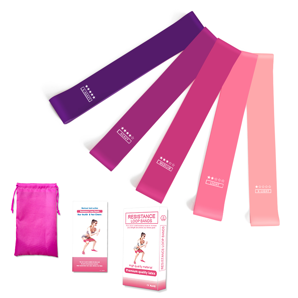 RESISTANCE BANDS SET LOOP Exercise Yoga 5pc Elastic Fitness Gym Training Workout