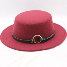 Newly British Style Retro Flat Brim Fedora Hat Autumn Winter Vintage Wool Cap With Belt And Ring Unisex Women Men Solid