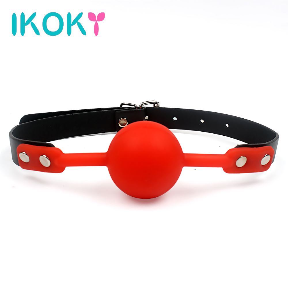 IKOKY Adult Games Mouth Gag Silicone Ball Oral Fixation PU Leather Band Bondage Restraints 4 Colors Sex Toys for Couples