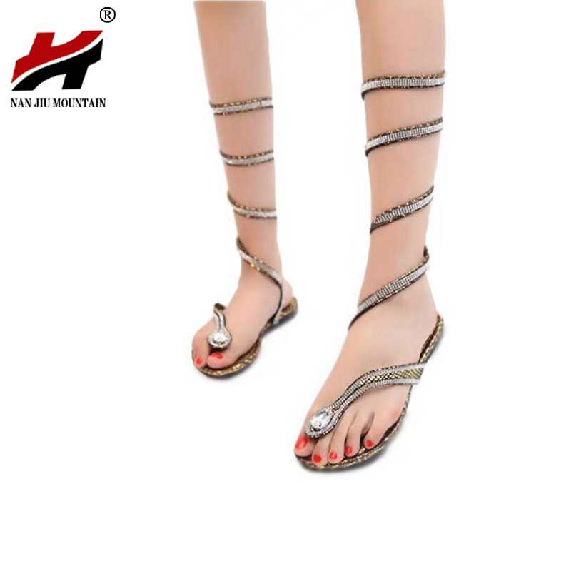 2017 Fashion Women Sandals Crystal Around Women Gladiator Sandal women Boots New Arrive Snake Flat Women Summer Shoes wholesale new arrive women