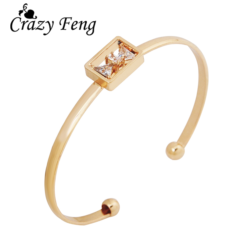 New Famous Brand Gold-color Cute Bow Knot Cuff Bracelets For Women Luxury AAA Cubic Zircon Crystal Bangles Indian Jewelry