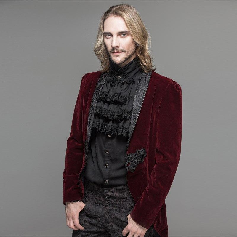 Дьявол Мода готическое мужское платье куртка стимпанк Черный Красный одной кнопки пальто ласточкин хвост Вечеринка ласточкин хвост пальто - 5