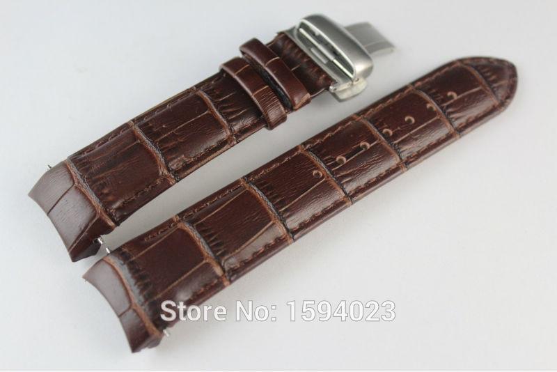 22mm (버클 20mm) T035410A T035407A 고품질 실버 나비 버클 + 브라운 정품 가죽 곡선 엔드 손목 밴드 남자