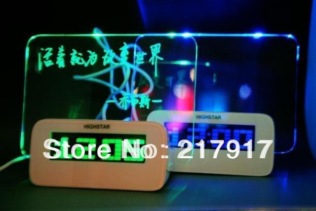 FREE SHIPPING led message clock memo board alarm clock with flashing light drop shipping Hot for gifts