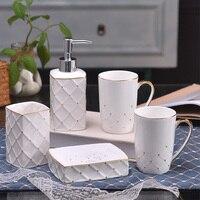 Upscale European style Bathroom Wash Set Bathroom Household Bathroom Five piece Bathroom Bath Mug Cup Set