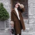 Женщины Шерстяное Пальто Осень Зима 2016 Мода Свободные отложным Воротником Длинные Шерстяные Пальто Двойной Брестед Плюс Размер Женщина