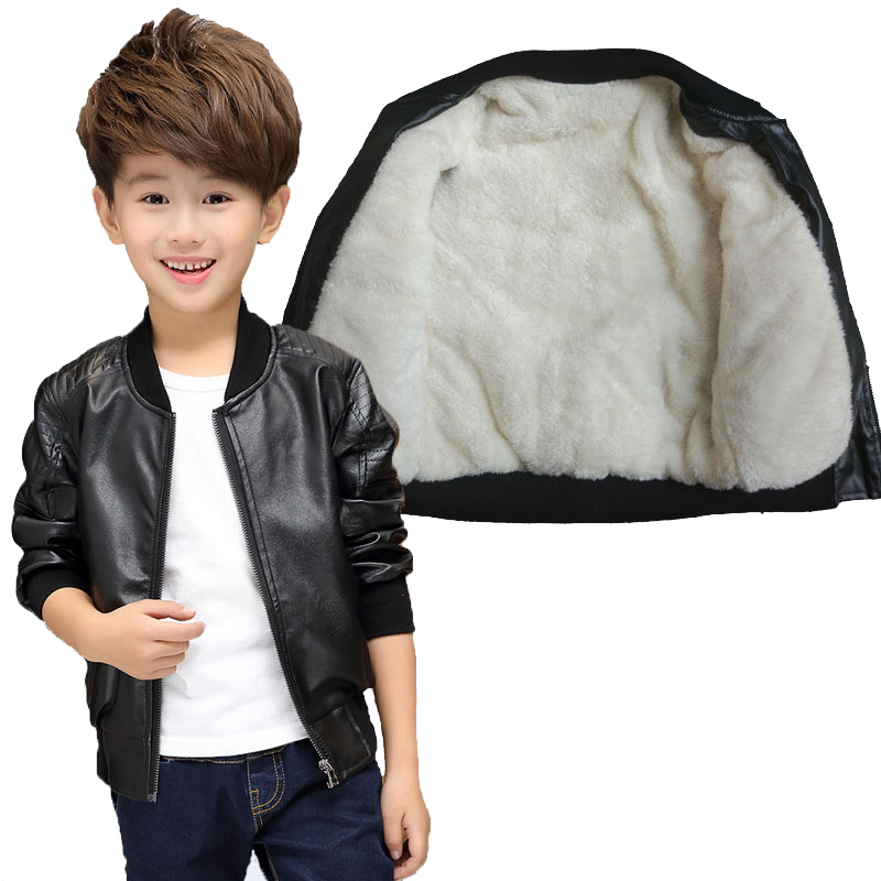 Teenager 2-14Yrs Boys Leather Jacket Boys Fashion Children Outerwear Kids Girls Coats Spring Leather Fur Jackets 2017 New