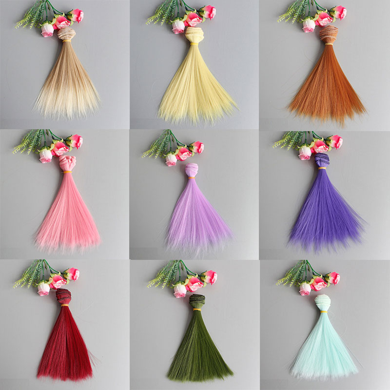 1 PC Cute Mini 15*100cm Popular Doll Hair Wig High-Temperature Material Straight Hair Wig For BJD Kids Gifts