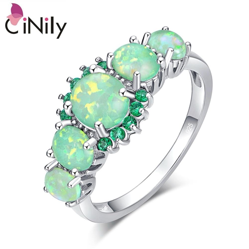 CiNily ustvarjen zeleni ogenj opal kristalno posrebren prstan na debelo na drobno vroče prodajajo za ženske nakit prstan velikosti 5-12 OJ7552