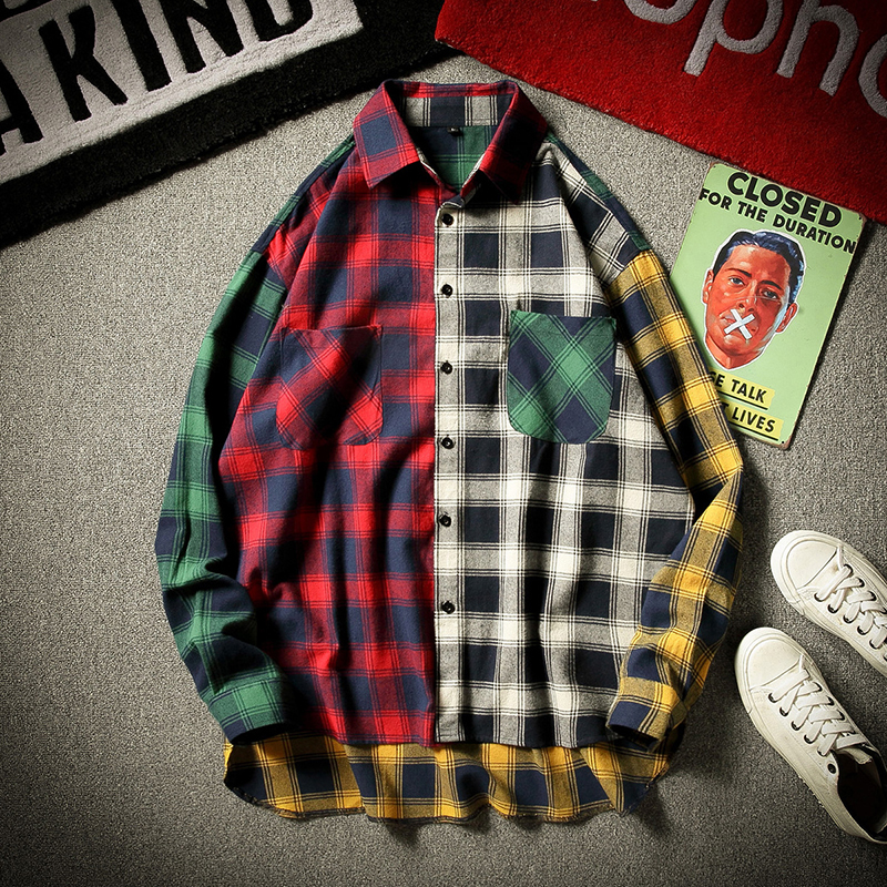 Flannel Plaid Shirt Spring Autumn Casual Long Sleeve Soft Comfort Japanese Harajuku Vintage Plaid Patchwork Shirts Men Women Aut