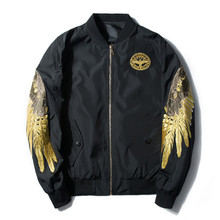e3663b25a1088 Women gold Embroidery angel Wings Bomber Coats Neutral BF Baseball clothing  Plus Size