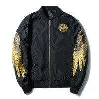 Donne Ricami in oro angel Wings Bomber Cappotti Neutro BF Baseball abbigliamento Plus Size Giacca A Vento di Primavera sottile MA1 Giacca di volo