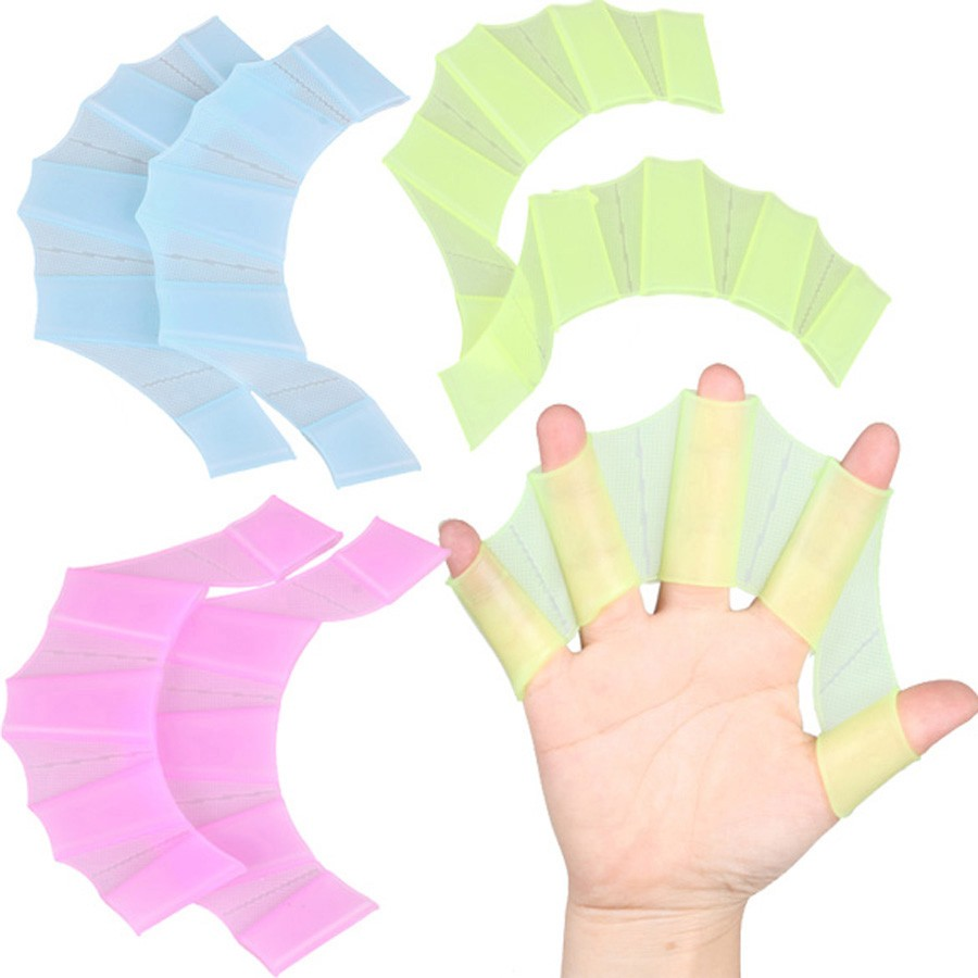 ONERIKOA Silicone Hand Webbed Fins Flippers Swimming Palm Webbed Hand Webbed Paddle Palm Gloves Swimming Soft Silicone Paddle Training Gloves Waterproof Equipment 2 Pairs