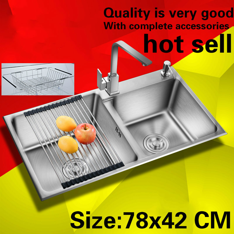 Free shipping Household standard kitchen manual sink double groove durable 304 food grade stainless steel hot sell 780x420  MMFree shipping Household standard kitchen manual sink double groove durable 304 food grade stainless steel hot sell 780x420  MM