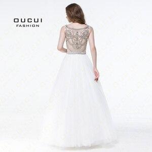 Image 2 - Bez rękawów białe suknie balowe 2019 wieczorowa suknia balowa wesele tiul Illusion frezowanie formalne Vestido de noiva OL102830C
